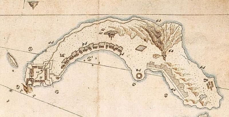 1654年荷蘭人給爾得辜所繪的「大台北古地圖」局部。(圖由基隆市文化局提供)
