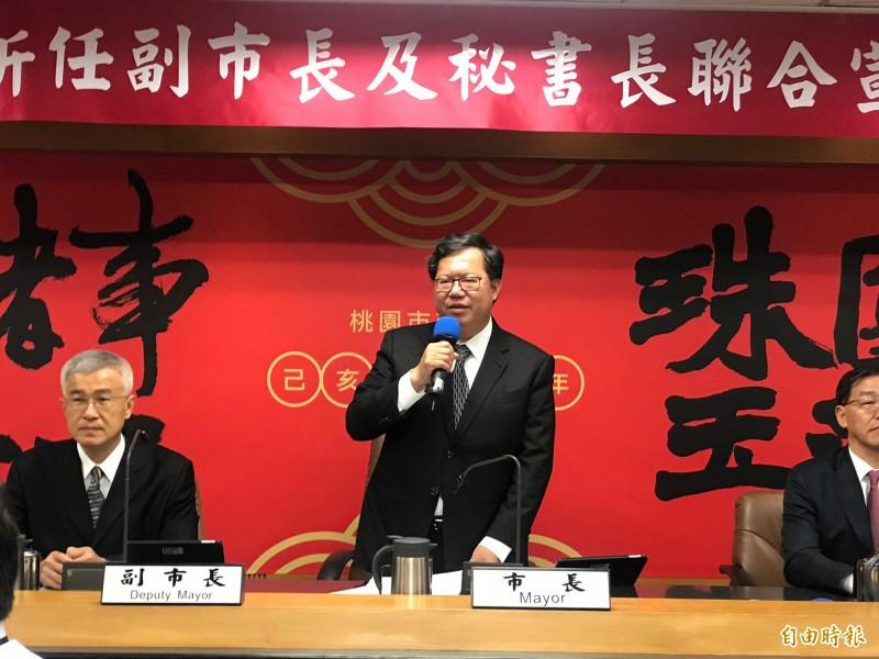 桃園市長鄭文燦認為,韓國瑜的五點聲明,只是向國民黨中央攤牌而已。(記者謝武雄攝)