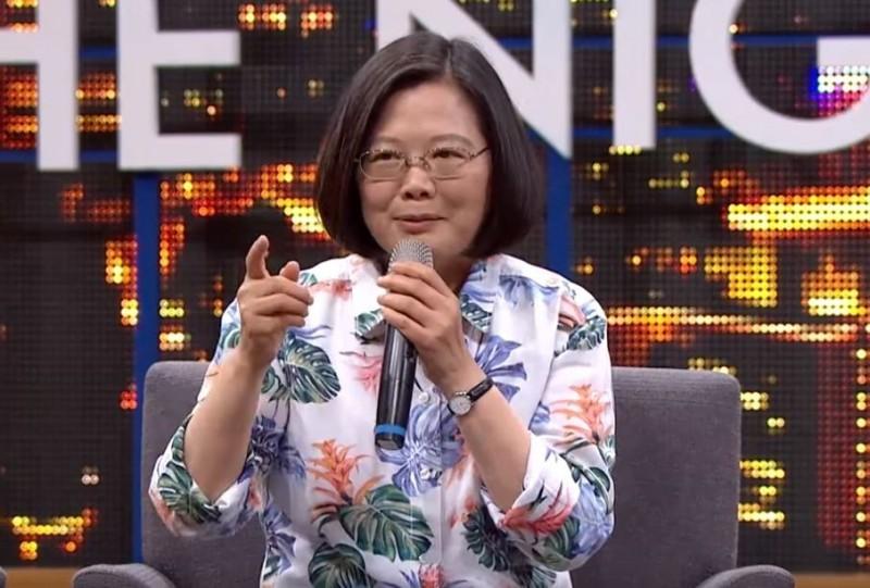 蔡英文要大家相信台灣,相信民主,「蔡英文是唯一的選擇」,引起現場一片歡呼。(擷取自YouTube頻道「STR Network」節目「博恩夜夜秀」)