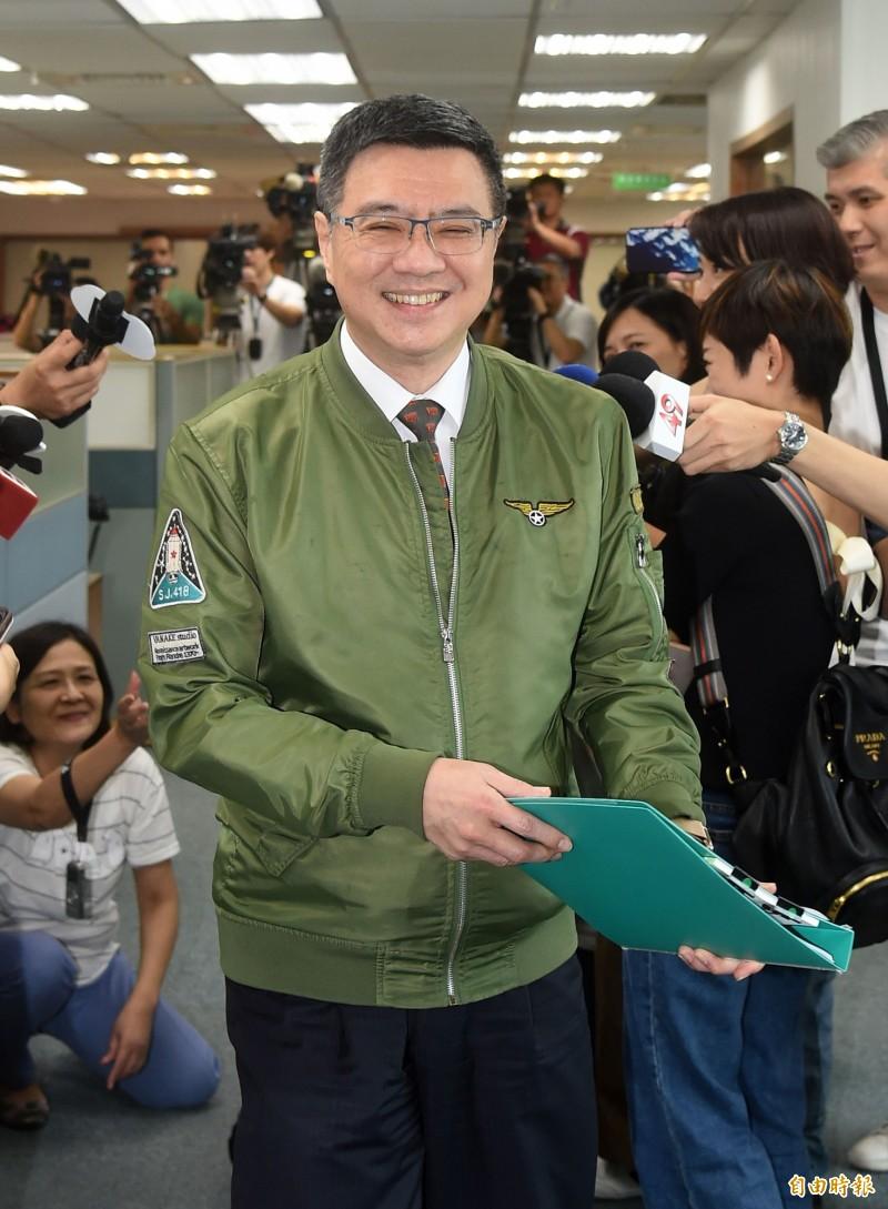 民進黨主席卓榮泰24日出席民進黨中常會。(記者黃耀徵攝)