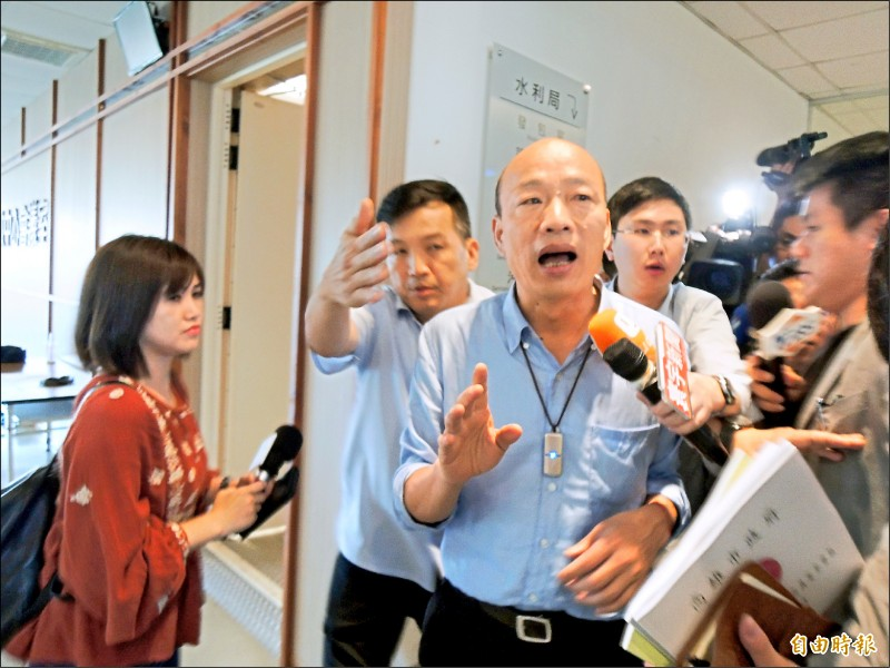 針對國民黨中常會試圖為韓國瑜解套,韓國瑜昨表示目前沒有訊息。(記者王榮祥攝)