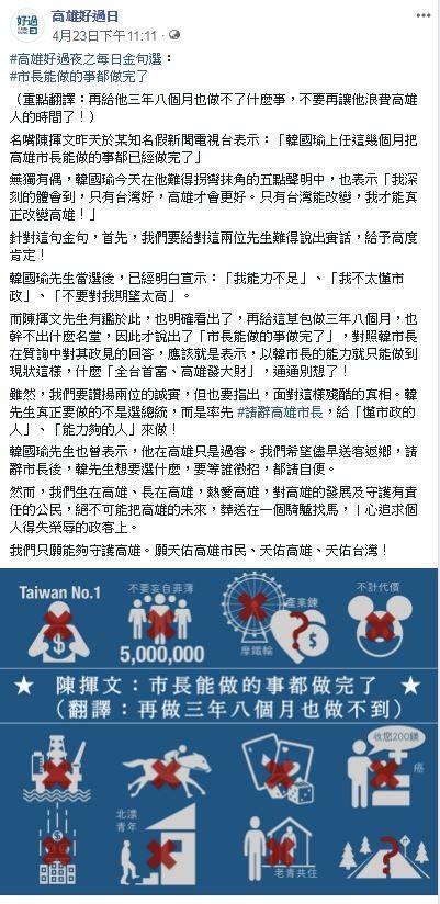 臉書粉專「高雄好過日」貼文表示,陳揮文稱「韓國瑜上任這幾個月把高雄市長能做的事都已經做完了」,堪稱「金句選」,並協助「重點翻譯:再給他三年八個月也做不了什麼事,不要再讓他浪費高雄人的時間了!」(圖翻攝自臉書粉專「高雄好過日」)