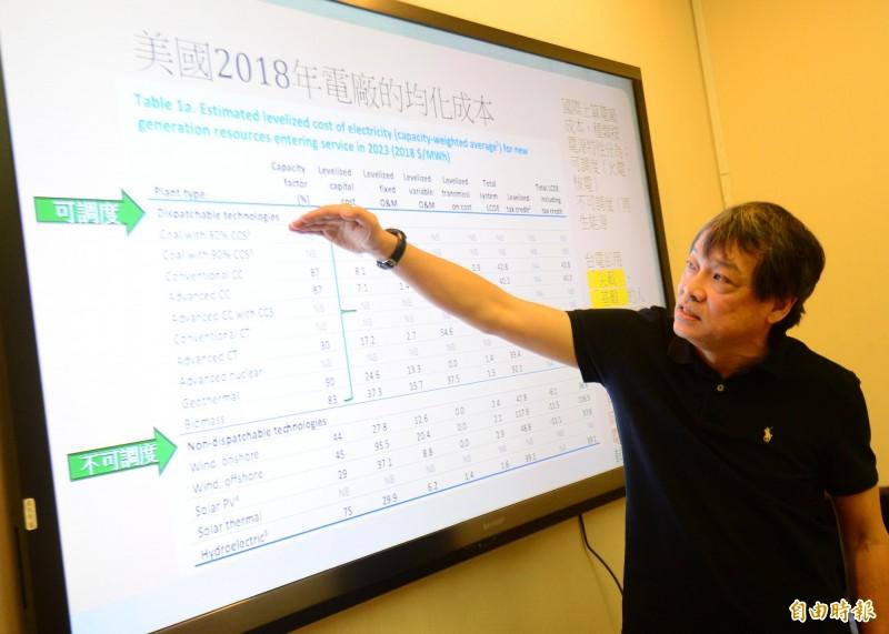 綠色消費者基金會秘書長方儉召開記者會表示,台電和經濟部長年用「缺電」的假新聞恐嚇國人,以訛傳訛以為台灣會缺電。(記者王藝菘攝)