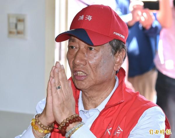 國民黨總統參選人郭台銘,因以「後宮不得干政」比喻妻子,引起社會撻伐。(資料照,記者廖振輝攝)