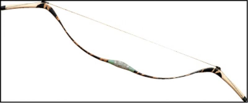 人造材料層壓弓,天然竹材夾加入少許人造附件,目前傳統弓競技的主流,價格略高於玻璃纖維但較角弓便宜,效能相對穩定、易保養。(記者陳宇睿/攝影)