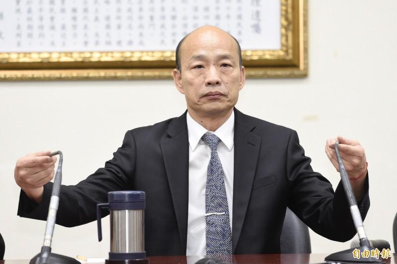 高雄市長韓國瑜今天與國民黨主席吳敦義會談,會後說明他不參加黨內總統初選,但是願意納入初選民調。(記者叢昌瑾攝)