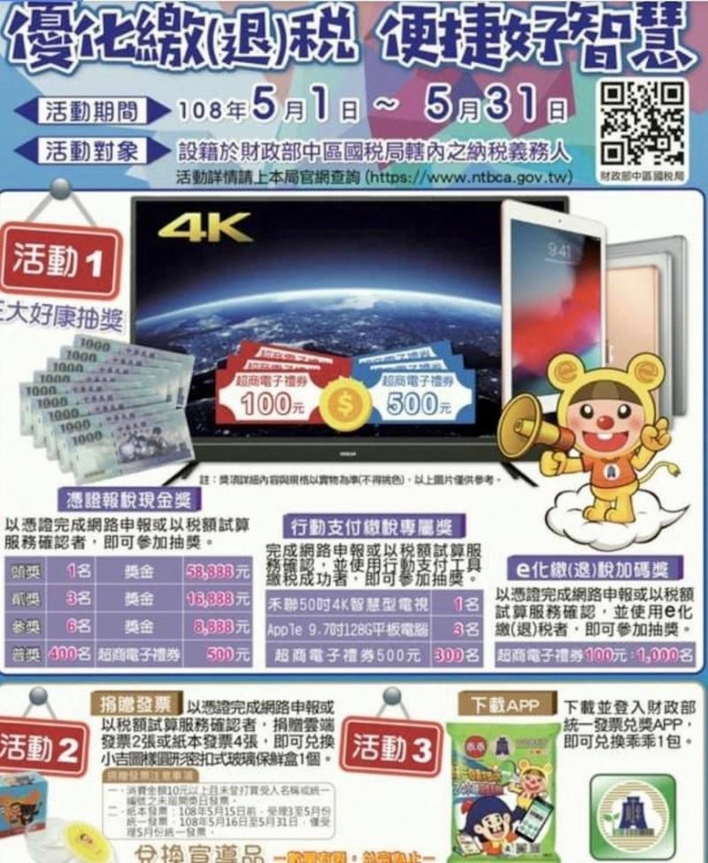 中區國稅局推出「優化繳退稅、便捷好智慧」活動,鼓勵民眾網路報稅。(記者謝介裕翻攝)
