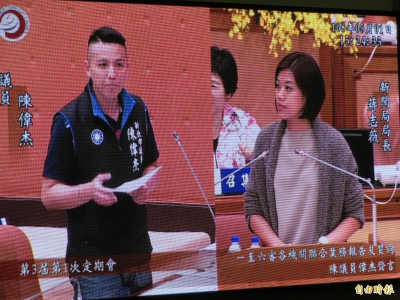 新北市議員陳偉杰要求新聞局在城市行銷上,納入淡海新市鎮,擺脫「鬼城」之名。(記者何玉華攝)