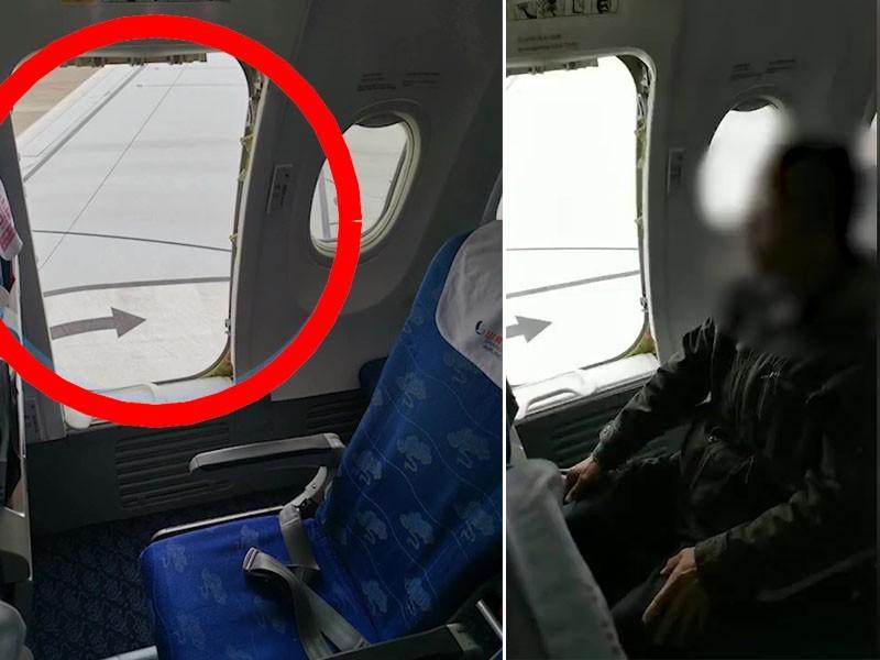 中國浙江一位阿伯因為心急,竟然想要打開緊急逃生門下機。(圖翻攝自星島日報)