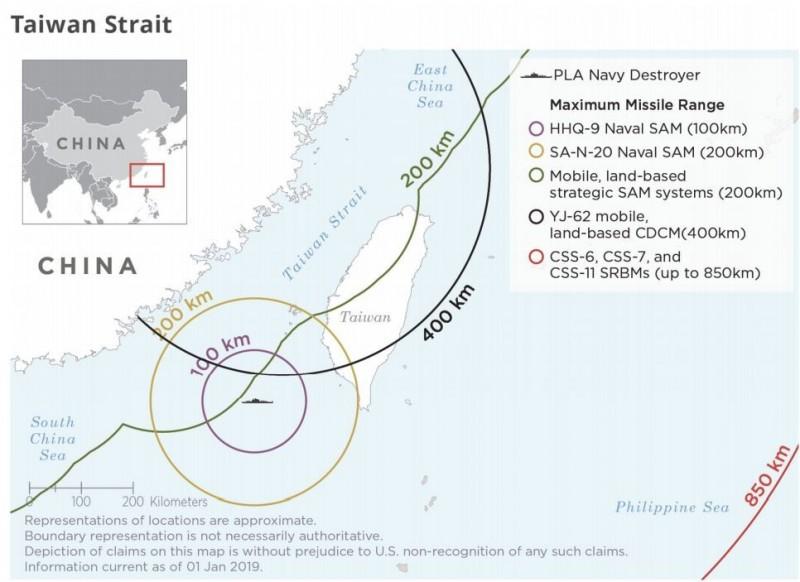 美國五角大廈指出,中國可能對台灣採取飛彈攻擊,圖為解放軍各種飛彈射程。(圖擷自五角大樓報告Annual Report to Congress)