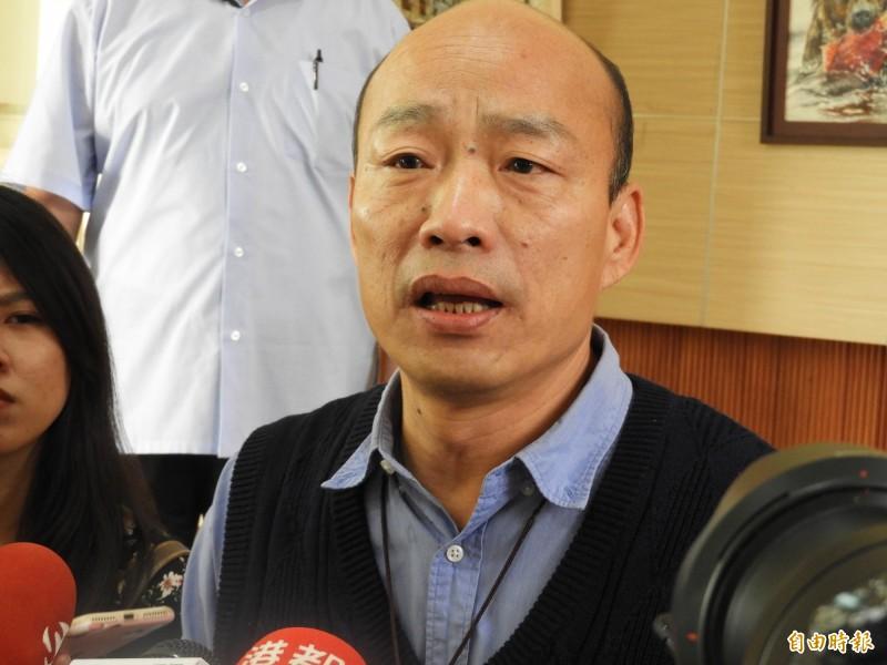 韓國瑜今天下午開直播,強調自經區是高雄脫胎換骨好機會。(記者葛祐豪攝)