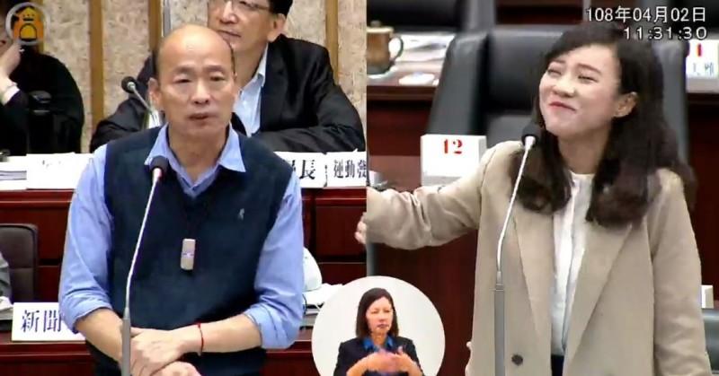 韓國瑜答不出來性別教育課程問題,讓黃捷感到好笑。(圖擷取自高雄市議會臉書)