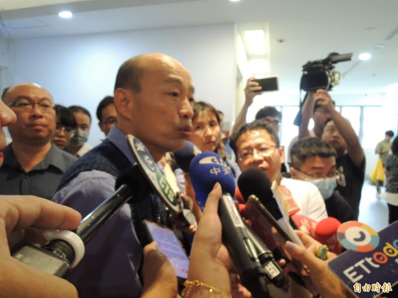 韓國瑜說,五月全心都在總質詢,對於各民調完全尊重。(記者王榮祥攝)