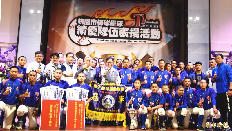 新明國中連續9年獲得國家代表權,今年6月將代表台灣參加世界少棒聯盟(LLB)亞太區次青少棒錦標賽。(記者李容萍攝)