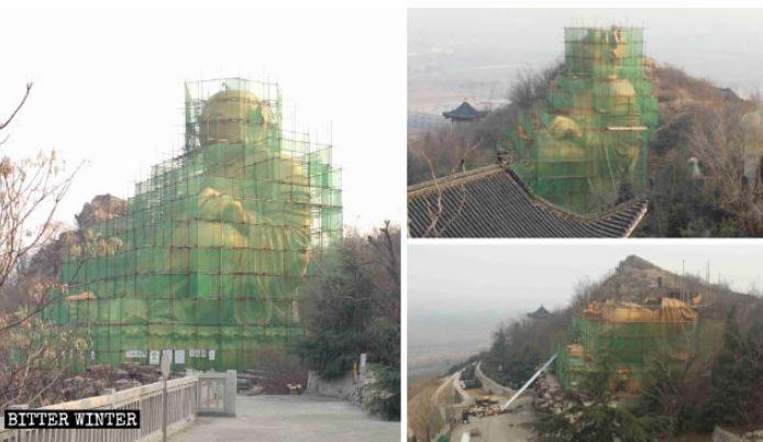 被當地人視為「風水寶地」,要價千萬人民幣的露天大型彌勒佛銅坐像,正在進行拆除工程。(圖擷自《寒冬》雜誌)