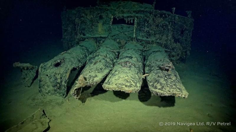 「古鷹號」的魚雷發射管。(圖擷自RV Petrel臉書)