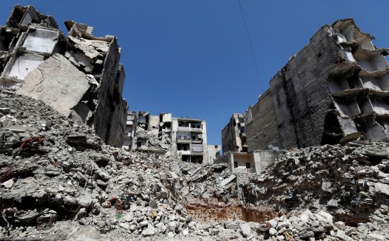 敘利亞內戰再次爆發,敘利亞政府軍與俄羅斯盟軍對反政府派發動攻擊,從昨日至今,已至少釀55死。圖為敘利亞戰區。(路透)