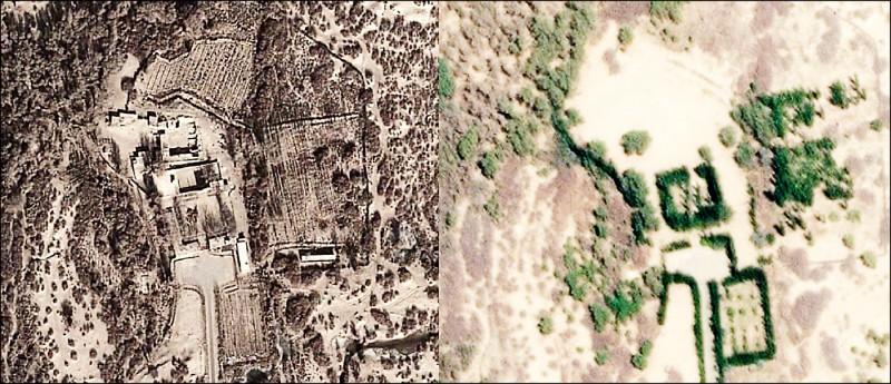 新疆伊斯蘭聖戰士賈法里‧薩迪克(Jafari Sadiq)之墓已遭摧毀。圖為二○一三年十二月十日(上)和今年四月二十日(下)空照圖對比。(取自網站)