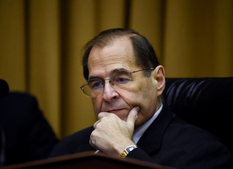 美國國會眾議院司法委員會主席納德勒2日在國會山莊主持一場與通俄門調查有關的聽證。(路透)