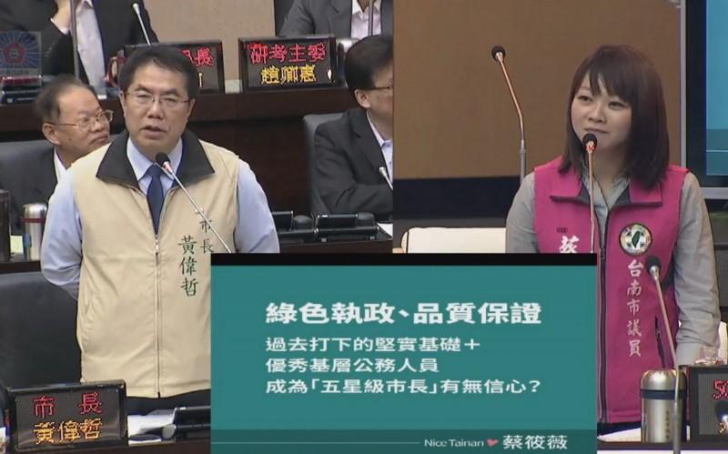 市議員蔡筱薇(右)詢問市長黃偉哲(左)近期是否調整小內閣人事,提出新市政藍圖。(記者蔡文居翻攝)