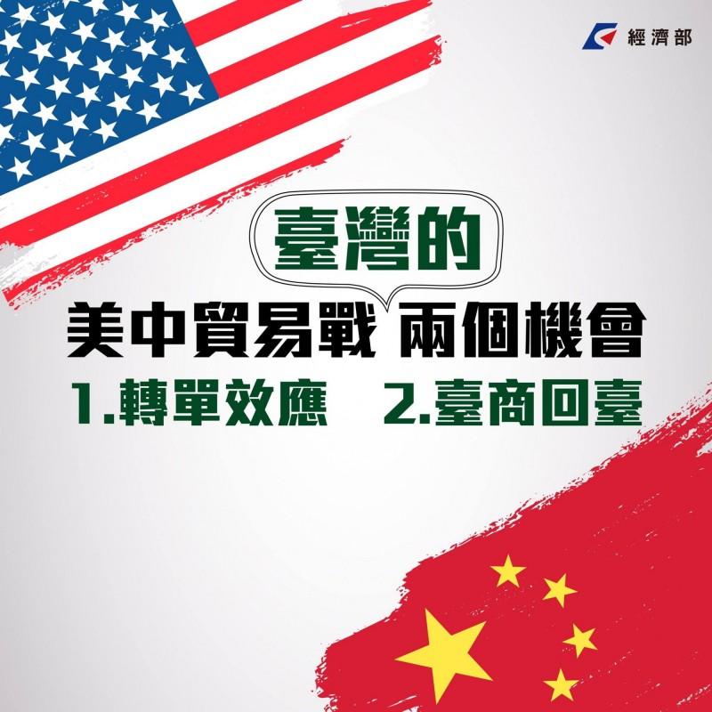 針對美中貿易戰對台影響,經濟部條列兩點影響、兩點機會。(擷取自經濟部臉書)