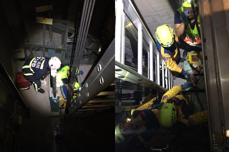 消防人員以攀降至電梯上方,打開電梯通風孔處進入電梯救人(左圖),但郭姓電梯工人已失去生命跡象(右圖)。(台中市消防局提供)