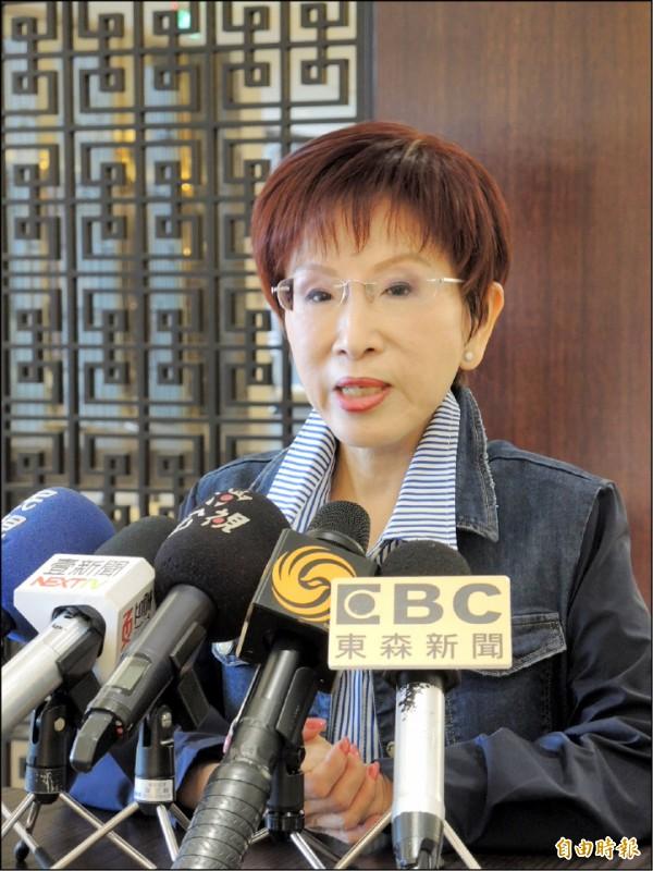 國民黨前主席洪秀柱昨表示,郭台銘「兩個中國」說法,不符合九二共識。(記者翁聿煌攝)