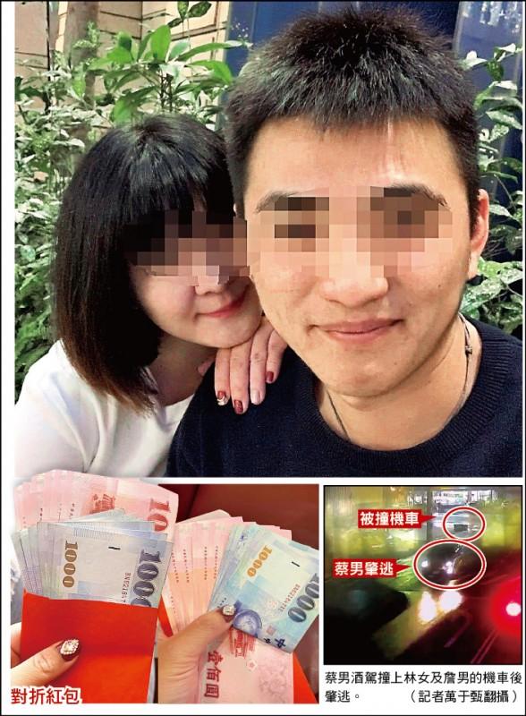 詹男將3600元的3張千元鈔對折包給妻子,讓妻子以為收到6600元的情人節紅包。(取自爆料公社)  蔡男酒駕撞上林女及詹男的機車後肇逃。 (記者萬于甄翻攝)
