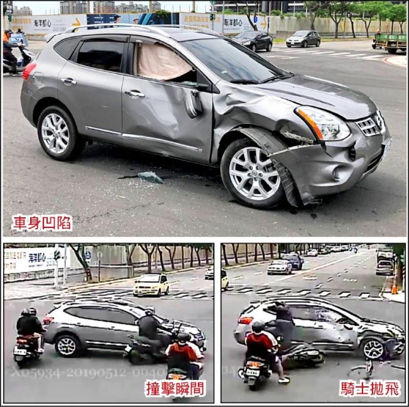 60歲郭男前天酒後駕車出門買便當,撞上25歲林姓騎士,林男當場拋飛,轎車車身嚴重凹陷。(記者王宣晴翻攝)