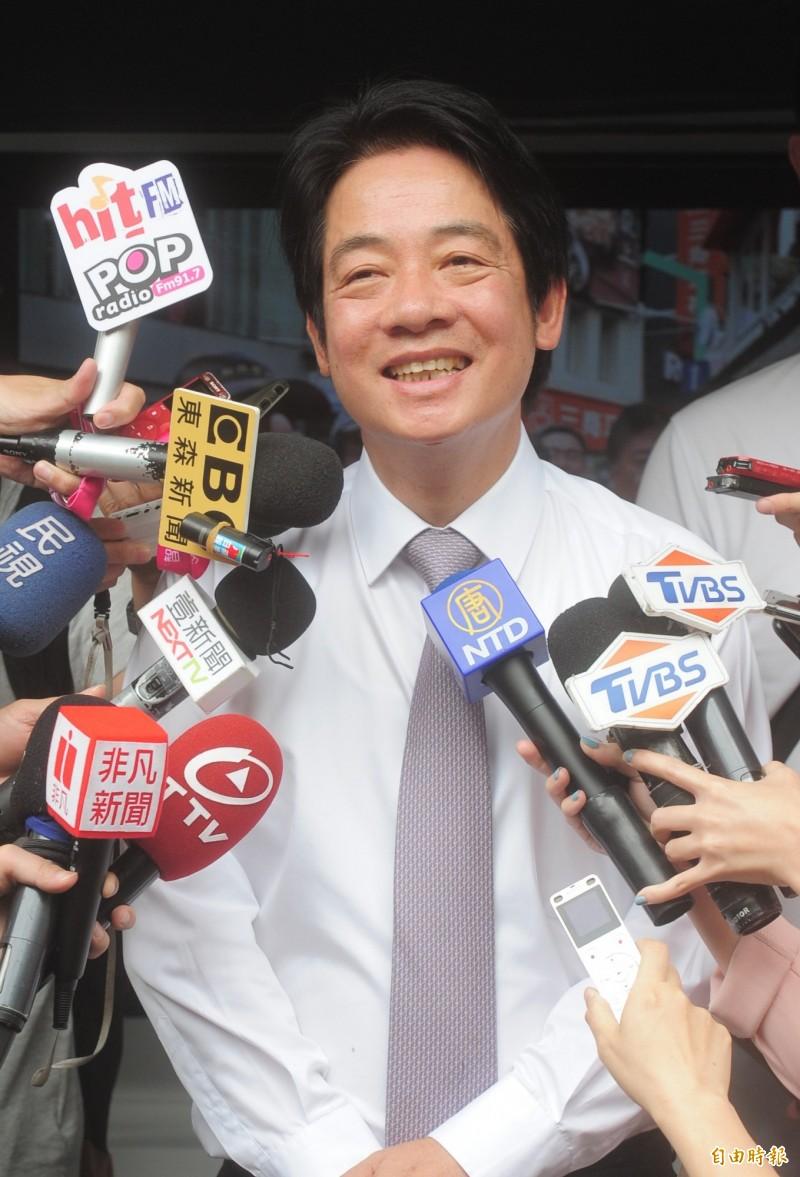 前行政院長賴清德向黨內喊話說,基層希望初選期程儘速決定。(記者王藝菘攝)