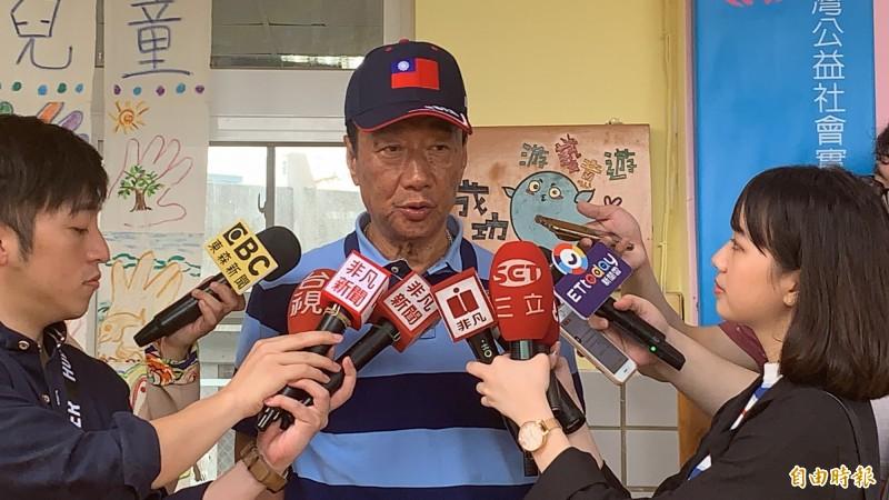 對於國民黨總統初選,郭台銘仍表示希望辯論。(記者張存薇攝)
