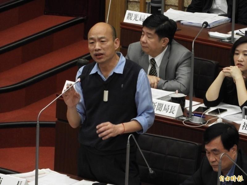 國民黨內部民調,傳高雄市長韓國瑜(圖)與鴻海董事長郭台銘之間的差距只在8~9%。(資料照)