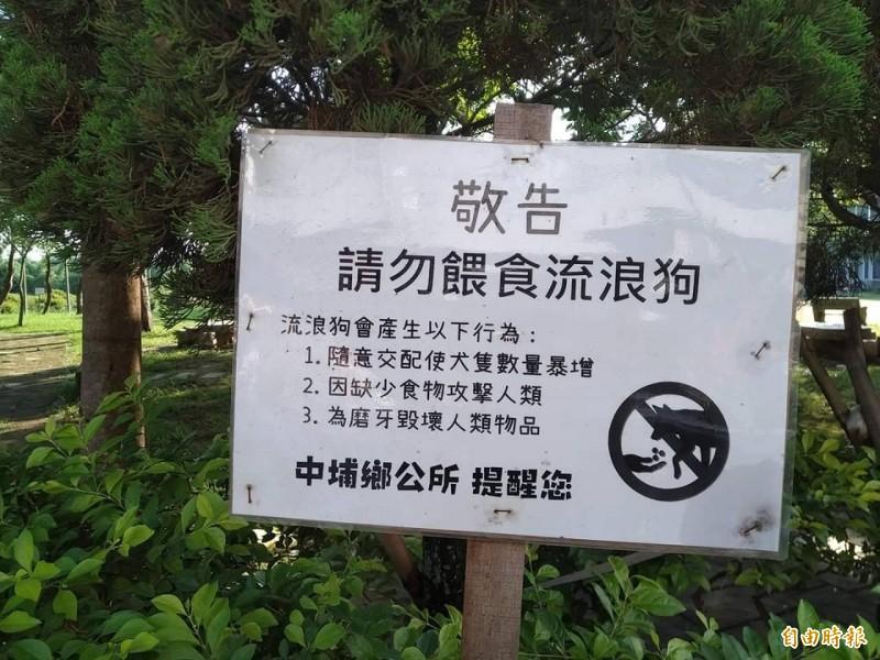嘉縣中埔公所禁餵流浪狗告示 理由太直白遭愛狗人士抨擊