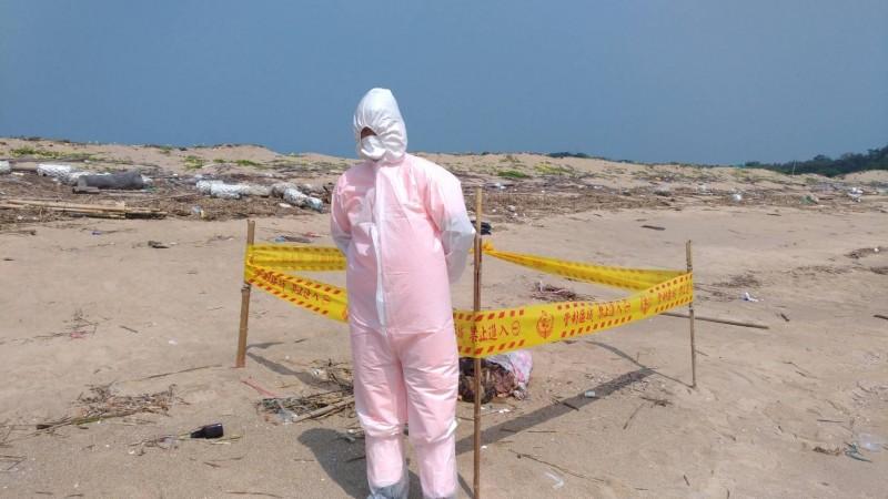 金門防疫人員將發現豬內臟地點拉起封鎖線。(圖由金門縣政府提供)