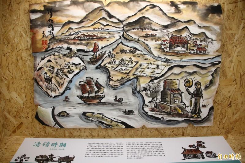 布袋五四三中介紹清領時期的畫作有國畫畫風。(記者林宜樟攝)