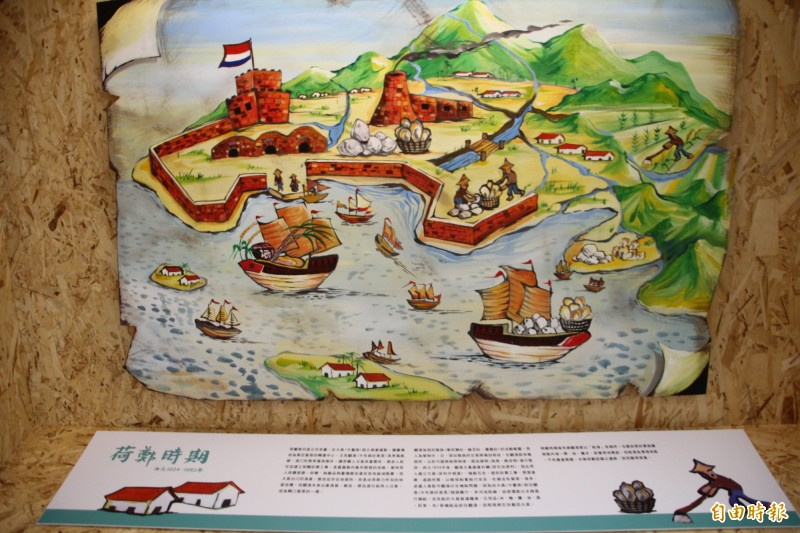 布袋五四三介紹荷蘭時期的畫作用上西洋畫法。(記者林宜樟攝)