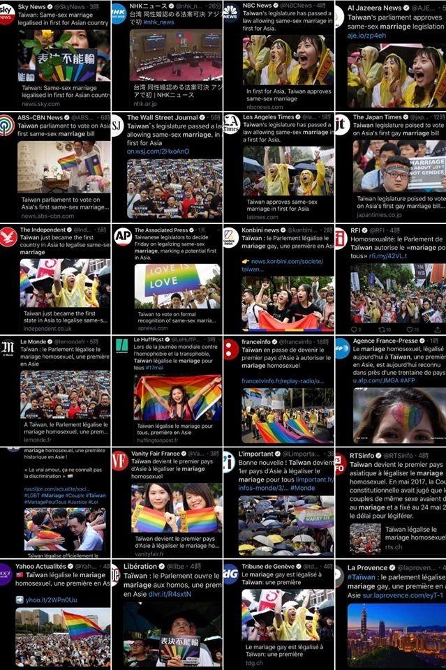 外國知名《美聯社》、《獨立報》等媒體均有報導台灣同婚專法通過。(圖擷取自林飛帆臉書分享貼文)