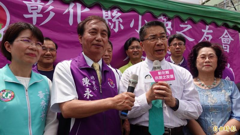 內政部長徐國勇(圖前排右二)今天到彰化出席小英之友會舉辦的捐血活動。(記者劉曉欣攝)