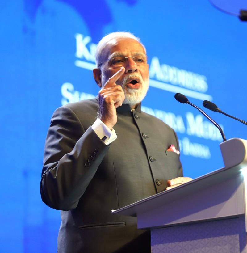 印度國會大選於今日結束,將透過91個選區中的9億選民,票選國會下議院的545個席次,並於23日開始開票。圖為印度總理莫迪。(中央社)