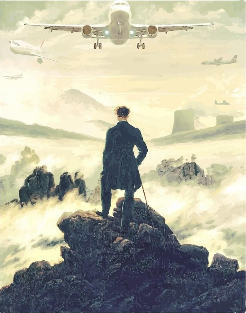 坎波納繪製的《霧海上的旅人》,取材自19世紀德國浪漫主義畫家卡斯帕.弗里德里希約於1818年所作的同名布面油畫作品。(圖擷取自Mr Mondialisation)