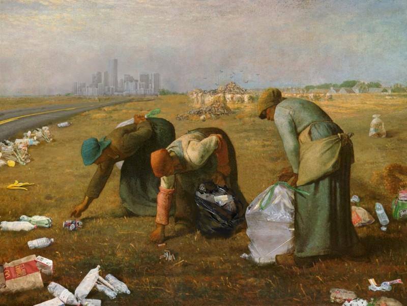 法國正妹娜翁繪製的《拾穢》靈感來自法國巴比松派畫家米勒在1857年繪製的《拾穗》。(圖擷取自Mr Mondialisation)