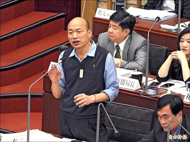 高雄市長韓國瑜昨被議員質疑,任期只完成9.79%就要選總統。(記者葛祐豪攝)