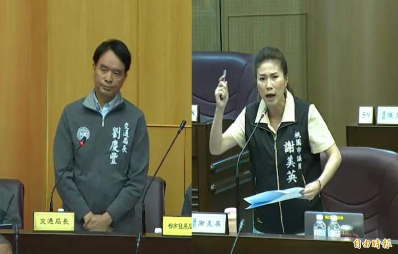 新科議員謝美英質詢時,怒飆交通局是敷衍局,局長劉慶豐一臉苦澀。(記者謝武雄攝)