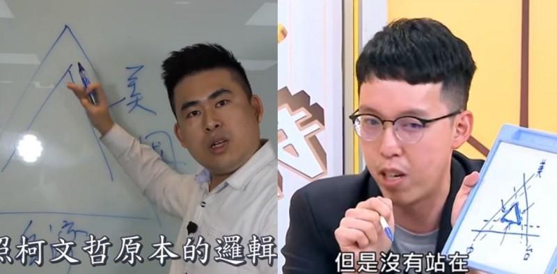 王炳忠、柯昱安均認為,美、中競爭會壓縮台灣生存空間。(左圖取自王炳忠臉書,右圖取自年代向錢看)