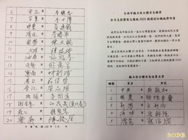 麻豆全部20位里長連署力挺蔡英文。(記者楊金城攝)