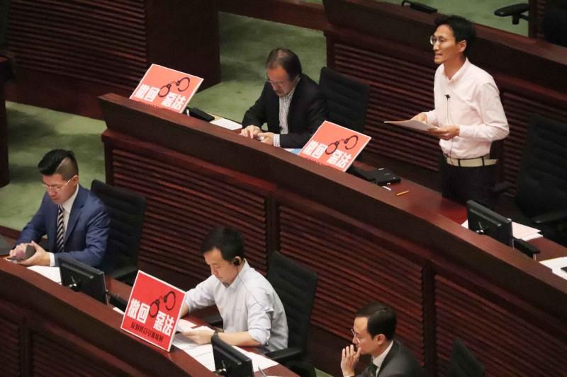 香港立法會目前正在進行「逃犯條例」修法。(中央社)