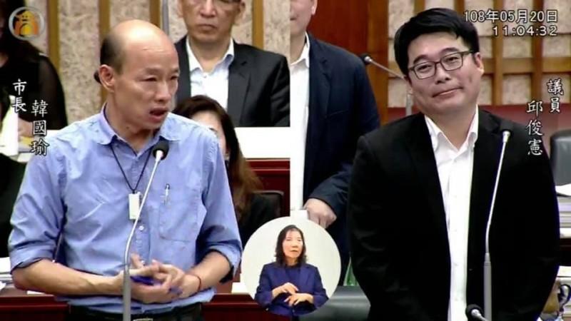 高市議員邱俊憲呼籲韓國瑜辭職參選。(記者王榮祥翻攝)