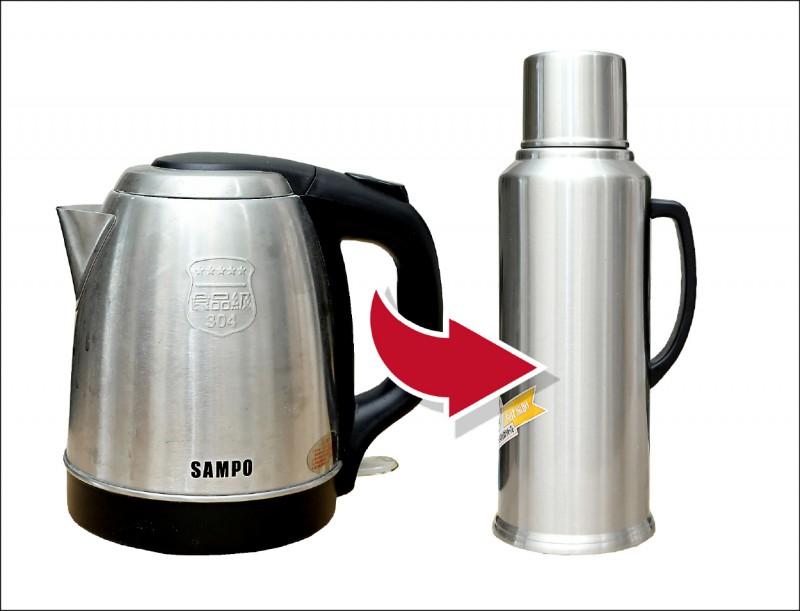 利用快煮壺將水滾沸後倒入保溫瓶中,就可以省去電熱水瓶保溫、反覆滾沸的用電。(記者陳宇睿/攝影)