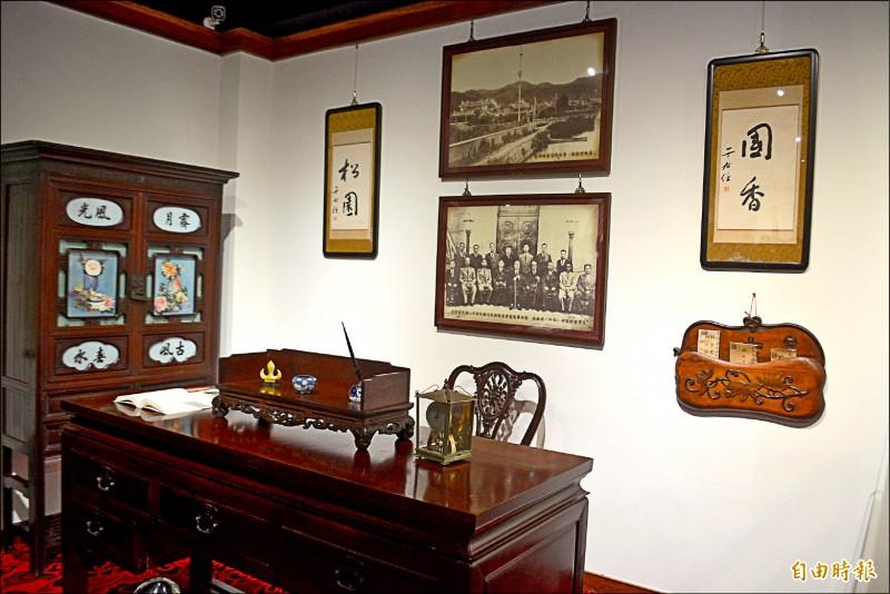 台中市第一座私立博物館「林獻堂博物館」今天揭牌,裡面展示與林獻堂有關的相關文物。(記者陳建志攝)