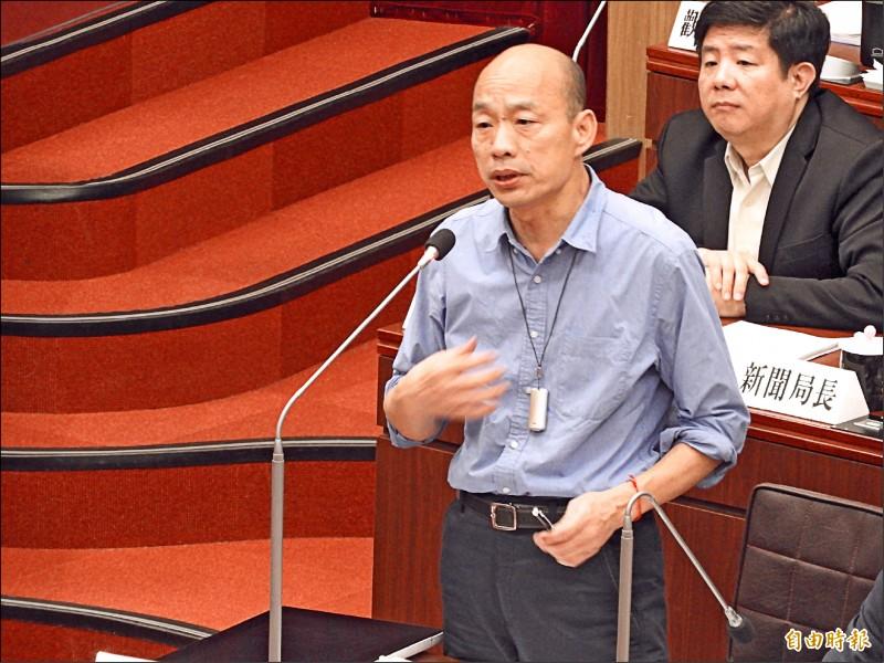 高雄市長韓國瑜昨在議會答詢時表示,「難道我不能一面專心在市政,用假日去選嗎?」(記者葛祐豪攝)